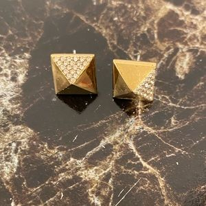 Michael Kors Square Gold Earrings with Rhinestones